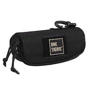 OneTigris Eyeglasses Hard Case Tactical Molle Zipper Sunglasses Carrying Case 1000D Nylon with Clip (Black)