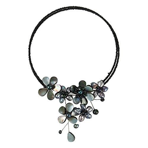 AeraVida Flower Black Mother of Pearl & Cultured Freshwater Black Pearl Cluster Choker Necklace