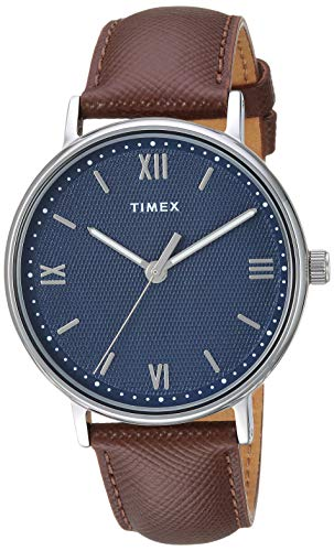 Timex Men's TW2T34800 Southview 41 Brown/Silver/Blue Leather Strap Watch - Watch Brass Leather Wrist