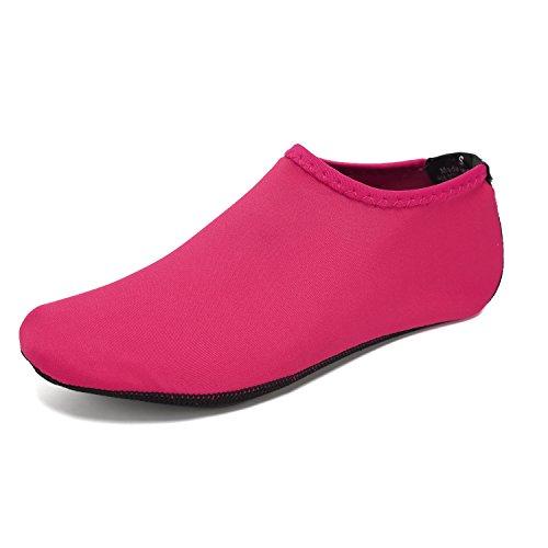 BTDREAM Männer und Frauen Quick-Dry Barfuß Wasser Haut Schuhe Aqua Socken für Beach Swim Surf Yoga Wassergymnastik Rosa