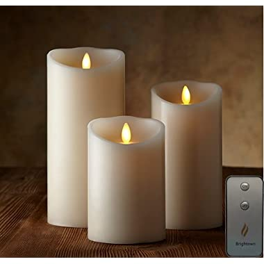 Remote Included Moving Flame Wick Lumina Candle, Real Wax Pillar Candle with Timer, Set of 3 Sizes
