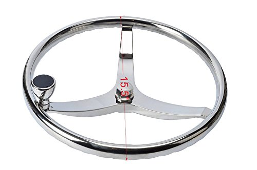 Amarine-made Stainless Steel Boat Steering Wheel 3 Spoke 15-1/2'' Dia, with 1/2''-20 Nut and Turning Knob for Teleflex Cable Helm by Amarine-made