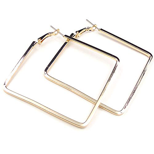 Cereza Women Stainless Steel Simple Geometric Square Hoop Earring (Square-Gold)