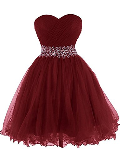 Crystal Beads Sweetheart Short Tulle Homecoming Dresses Cocktail Prom Party Gowns