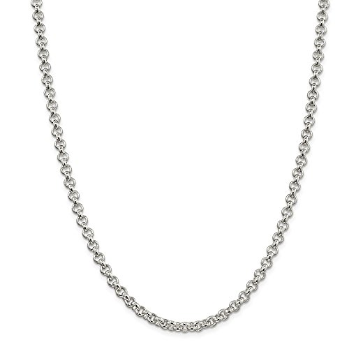 Solid 925 Sterling Silver 5mm Rolo Chain Necklace 24'' - with Secure Lobster Lock Clasp by Sonia Jewels