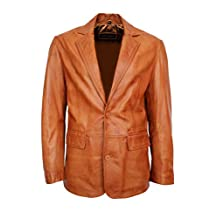2 BUTTONS CLASSIC BLAZER Mens Tan Long Lapel Tailored Soft Real Leather Jacket Coat