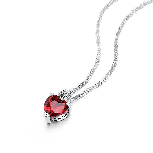 Buy silver red heart pendant