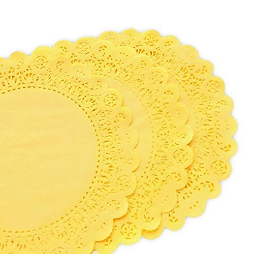 25 Pack - Quality Hand Dyed Sunshine Yellow Paper Lace Doilies   Choose from 6'', 8'', 12'' size   Stylish table decor as placemats, plate chargers for Weddings, Bridal Showers, Party Events (12 inches) by Todo Papel