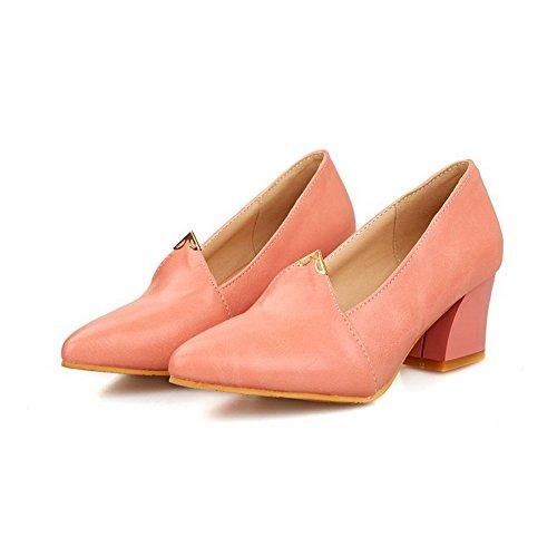 VogueZone009 Damen Weiches Material Ziehen auf Spitz Zehe Mittler Absatz Rein Pumps Schuhe Pink