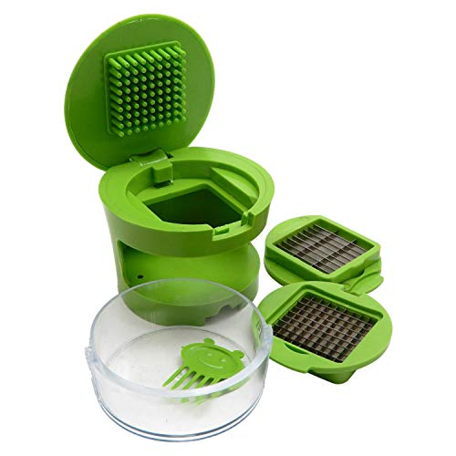 IndiaBigShop Garlic Press and Mincer - with storage container and built-In cleaning tool. Premium quality, Durable & Sturdy Construction with Stainless Steel Blades.