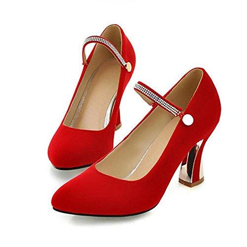 Printemps Automne en cuir pour femmes Wristband Chunky chaussures à talons hauts Prong Chaussures simples chaussures de mariage , red , 40
