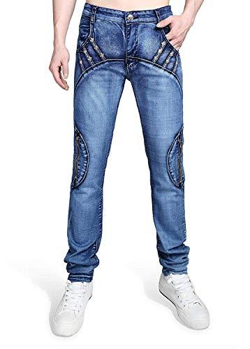 Casual Fit Inserto Realizzati T029 Vintage Slim Especial Lavaggio Mano Da Denim Jeans Asimmetrico A Stretch Uomo Con Estilo xUwF5Oaq
