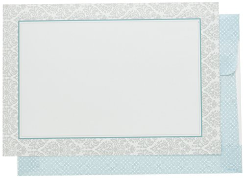 Great Papers! Fresh Slate Damask Flat Card Invitations With Envelopes - 5.5