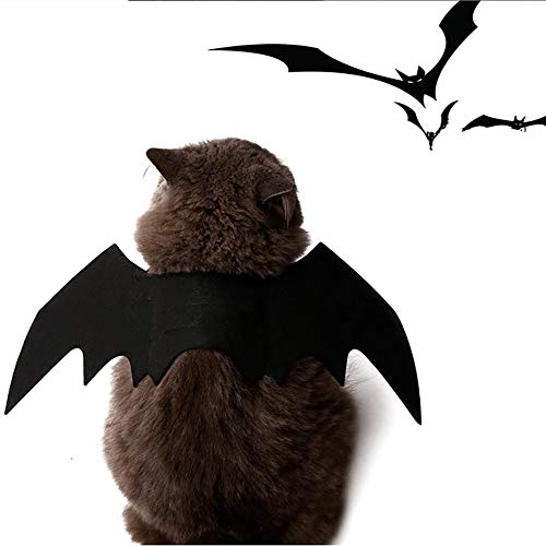 Fuhuy Pet Bat Wings Cat&Dog Halloween Costums Dress Up Your Pet for Party(Black) (Black)]()
