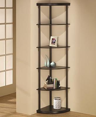 "6 tiered pie shaped corner shelf unit in an espresso finish wood . Measures 16"" x 16"" x 72""H."