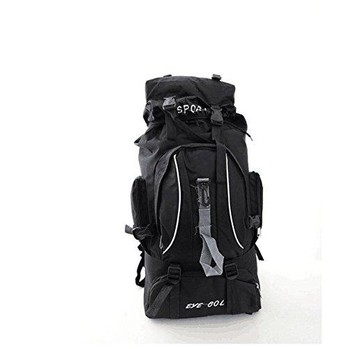 qlvy al aire libre hombro bolsa de viaje montañismo bolso hombres y mujeres al aire libre mochila bolsa de equipaje grande Big Bag, al aire libre senderismo mochilas, resistente al agua, hombre, negro negro