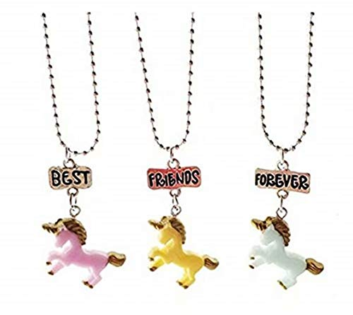 CARDEON BFF Necklace 3 Packs Best Friends Forever Unicorn Pendant Friendship Necklace Set for Girls Kids Children