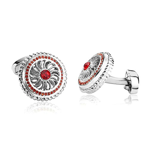 Epinki Men Stainless Steel Round Whale Back Closure with Cubic Zirconia Silver Red Cufflinks ()