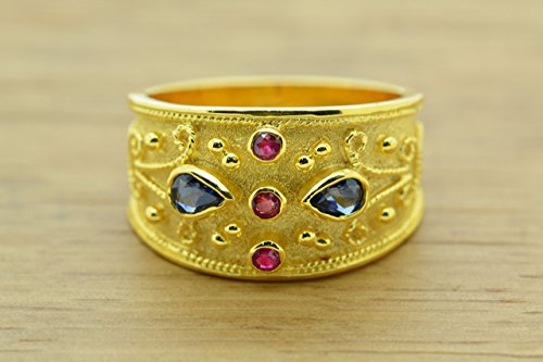 Style Ring Etruscan (Pear Cut Sapphires and Round Rubies Cz Byzantine Style Ring, Byzantine Rubies Sapphires CZ Ring, 22K Gold Plated Ring, CZ Band Ring, Sterling Silver Ring, Etruscan Style Ring, Byzantine Ring, Greek Jewelry, Luxury Ring, Medieval Ring, Elegant Sterling Silver Ring, Blue Red cubic zirconia Ring)