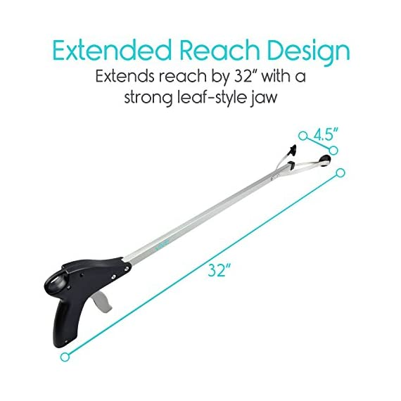 """Vive Suction Cup Reacher Grabber - 32"""" Heavy Duty Mobility Grip Hand Aid - Handle Tool Light Bulb Remover, iPad Pickup, Long Handled Trash Litter Picker, Garbage Garden Nabber Extender - Handicap Arm 6 Easily extend your reach: adding 32"""" to your reach, the suction Reacher allows you to easily reach items stored on high shelves, dropped behind furniture or other tight places, and items on the ground without constant bending and twisting. Great for those with limited dexterity, arthritis, carpal tunnel, or those recovering from surgery or injury. Secure rubber suction cup tips: easily change light bulbs without using a hazardous step stool. Strong rubber suction cups provide a secure grip on any item, including smooth or slippery objects like glass or metal, without damaging the surface. The wide leaf-style jaws close tight enough to retrieve dropped Coins or pills with ease while having the strength to hold items weighing up to five pounds. Ergonomic trigger handle: the comfort grip handle is ergonomically designed to fit easily in either hand for versatility and also includes a built-in hanger for convenient storage when not in use."""