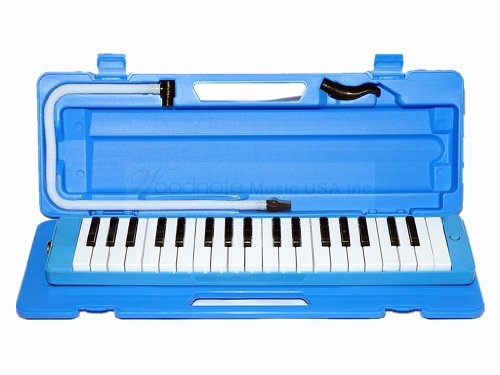 Woodnote Beautiful Blue 37 Key Melodica with Hard Plastic Case by Woodnote