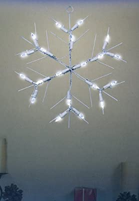 """12"""" Battery Operated LED Lighted Snowflake Christmas Window Silhouette"""