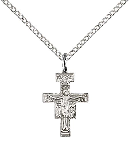 Sterling Silver San Damiano Crucifix Pendant with 18