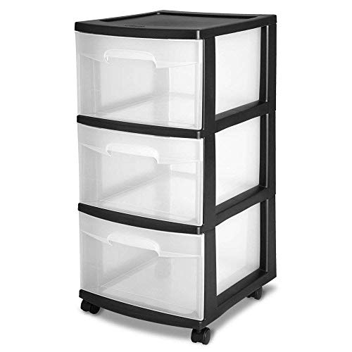 STERILITE 3-Drawer Storage Cart, Clear with Black Frame (4-Pack) | 4 x 28309002 (Sterilite Set Drawers)