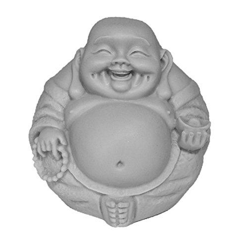 JB Premium 3in Happy Buddha Statue/Laughing Buddha Figurine/Idol. Made of Poly Marble. PREMIUM QUALITY Buddha Decor. (Grey Natural Stone Color Finish)