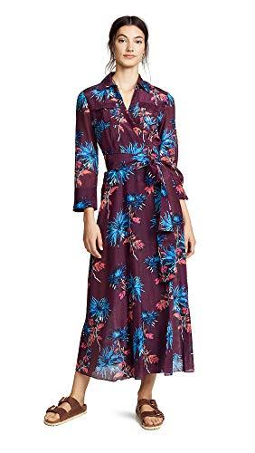 Diane von Furstenberg Women's Floor Length Collared Wrap Dress, Hewes Currant Multi, Petite from Diane von Furstenberg