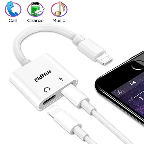 Headphones Adapter, 2 in 1 Headphone Adapters Dual Splitter Aux Audio Charger, Music and Charge Compatible with XS XR XS Max 7 8 X 7 Plus 8 Plus Adaptor