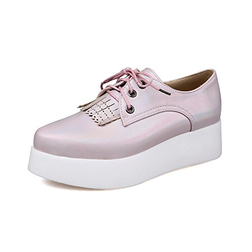 AmoonyFashion Womens Lace-up PU Pointed Closed Toe Low-heels Solid Pumps-Shoes Pink JE7qmz