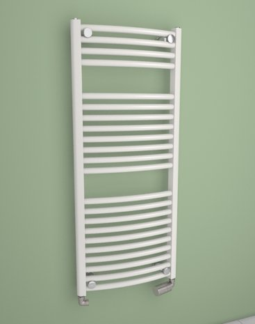 Coral Round- toallero curvado (– Radiador para baño – color blanco – incluye Kit