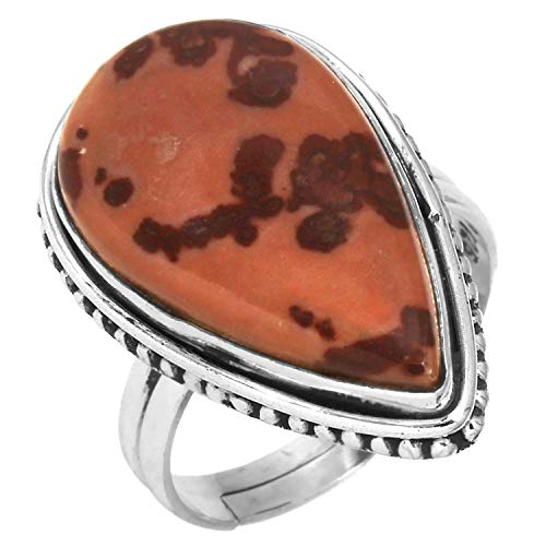 Solid 925 Sterling Silver Adjustable Ring Natural Coffee Bean Jasper Gemstone Collectible Jewelry Size - Sterling Jasper Silver Adjustable Ring