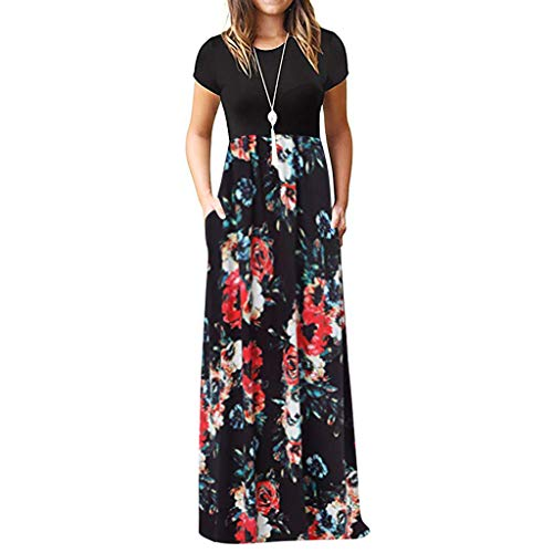 HAALIFE◕‿Women Short Sleeve Loose Plain Maxi Dresses Casual Long Dresses Pockets Black
