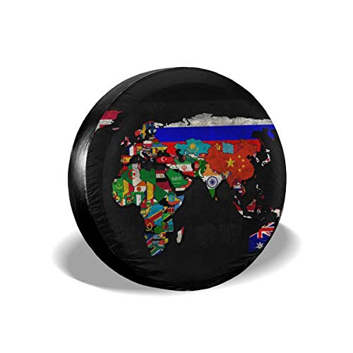 (Tire Cover Political Map Of World Desktop Postive Potable Polyester Universal Spare Wheel Tire Cover Wheel Covers For Jeep Trailer RV SUV Truck Camper Travel Trailer Accessories(14,15,16,17 Inch))