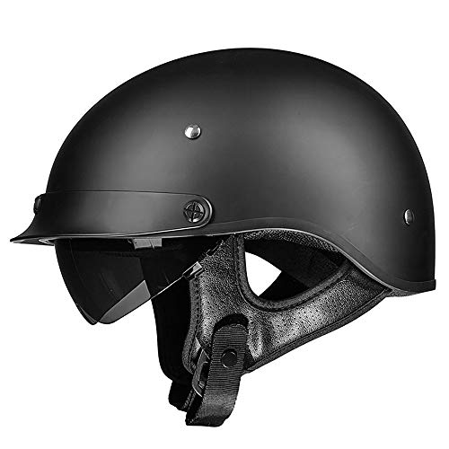 (TKTTBD Retro Motorcycle Half Helmet,Adult Open Face Motorbike Helmet with Double Visor,Quick Release Buckle, Personality Motorcycle Helmet for Cruiser Chopper Moped Scooter,DOT Approved)
