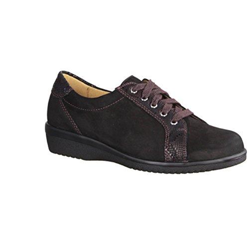 Ganter Inge 204752-142 - Zapatos cómodos / relleno suelto Zapatos mujer Cómodo Zapatos de cordones, Negro, cuero (nubuk suave)