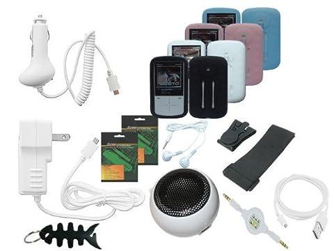 iShoppingdeals - Premium Lot 15 Item Accessories Bundle Combo for Sandisk Sansa Fuze+ MP3 Player (Sansa Fuze Speakers)