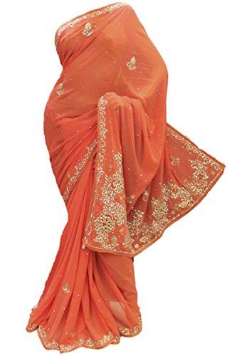 DES1401 hermoso coral y plata de la fiesta de la sari Bollywood Indian Designer Party Saree Coral