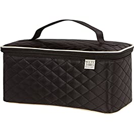 Ellis James Designs Large Travel Makeup Bag Organizer – Cosmetics Train Case Toiletry Bags for Women – Black – With Handle & Make Up Brush Holders – Professional Hair Dryer Cases & Beauty Storage