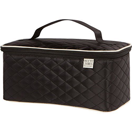 Ellis James Designs Large Travel Makeup Bag Organizer Cosmetic Train Case Bag Toiletry Holder Black w/Handle & Makeup Brush Holders – Multifunctional Professional Hair Dryer case & Beauty Storage