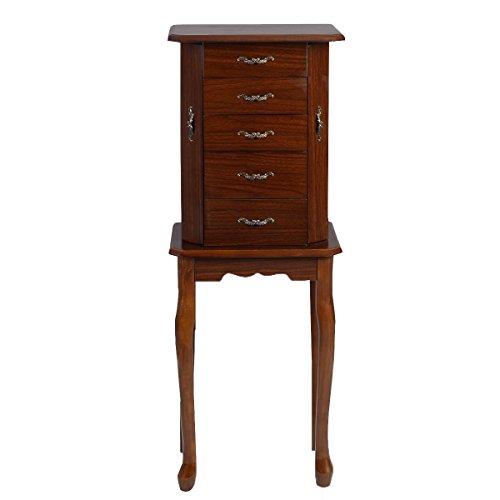 Giantex Jewelry Cabinet Armoire Storage Chest Stand Organizer Wood Box - Box Walnut Dark Jewelry
