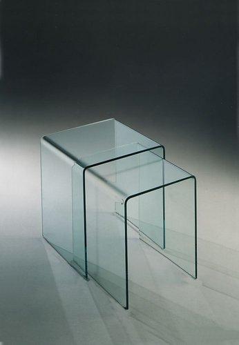 Mod. Rialto - Coppia tavolini in vetro curvato: Amazon.it: Casa e ...