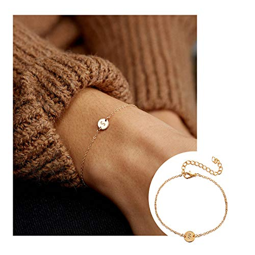 (CHUYUN Silver Initial Charm Bracelets,Dainty Round Coin Disc Initial Bracelet Engraved Letters Personalized Name Bracelet for Girls (S))