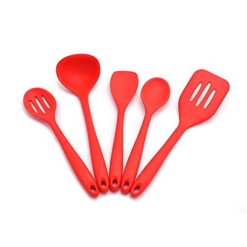 Yamde Premium Silicone Kitchen Utensil Set, New 5 Piece Cute Cooking Tool Set