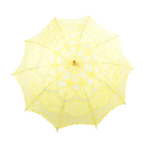 Topwedding Handmade Embroidered Cotton Wedding Umbrella Parasol, Yellow