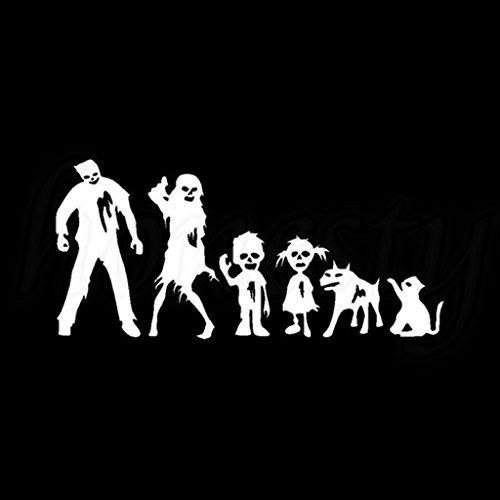 Price comparison product image Zombie Family Vinyl Decal Sticker | Cars Trucks Vans Walls Laptops Cups | White | 8.5 X 4 inches | KCD1342