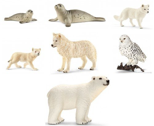 Schleich New Arctic/Antarctic Set of 7 Wildlife Figures: Seal and Seal Cub, Snowy Owl, Arctic Fox, Polar Bear, Wolf and Cub, Bagged Together, Ready to Give