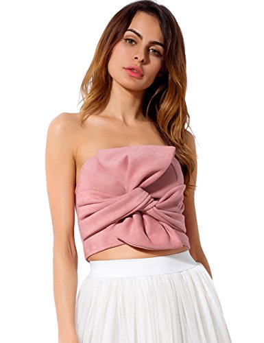 KAMISSY Women's Twist Bowknot Bustier Strapless Ruched Tube Crop Tank Top ()